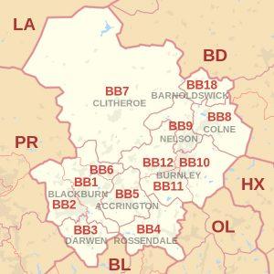 Blackburn postcode map